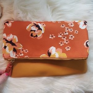 Rachel Pally Orange Flower Print Reversible Clutch